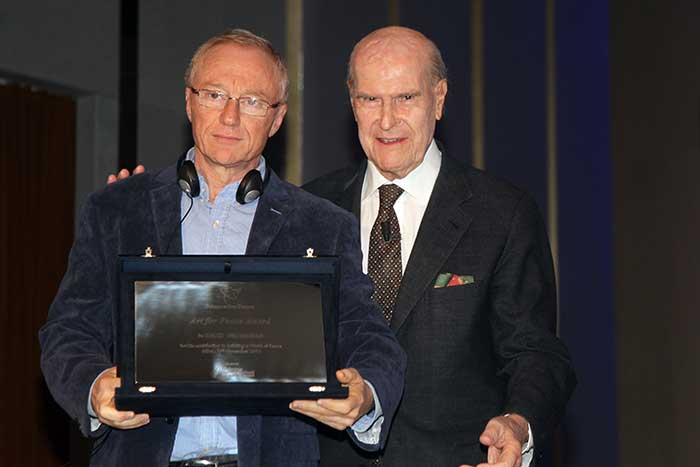 Art for Peace Award - David Grossman e Umberto Veronesi © Nanni Fontana